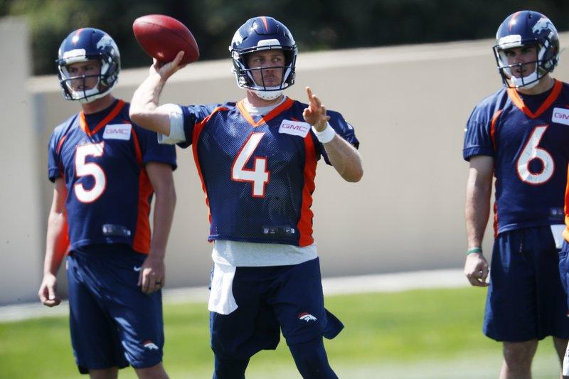 low cost 6ed60 c4379 Broncos new QB Keenum gets first taste of Denver's defense