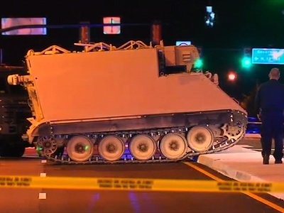 Raw: Armored Vehicle Stolen From National Guard