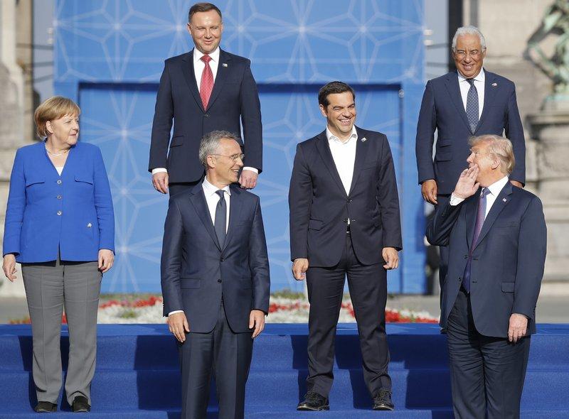 Donald Trump, Angela Merkel, Andrzeji Duda, Jens Stoltenberg, Alexis Tsipras, Antonio Costa