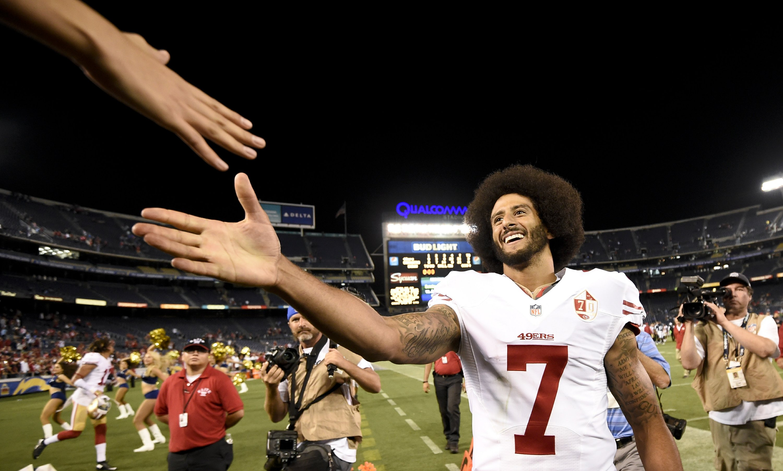 big sale ca538 18fa8 Kaepernick, 49ers teammate kneel during national anthem