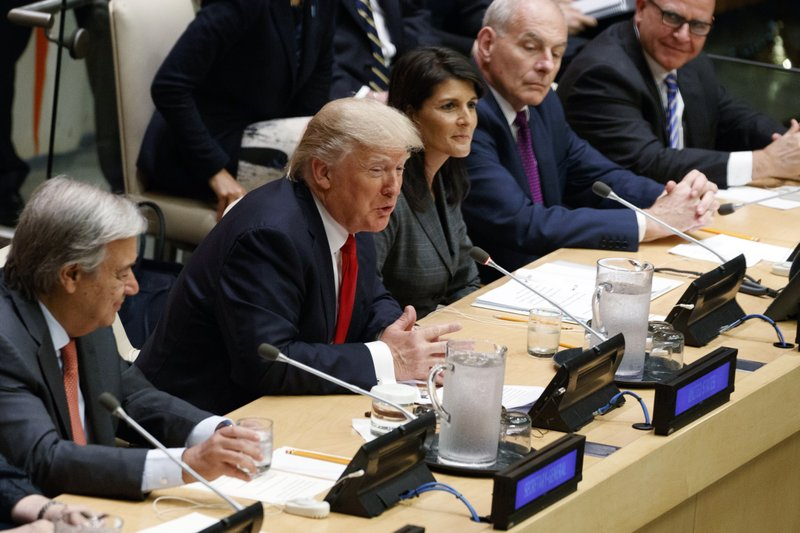 Donald Trump, Antonio Guterres, Nicky Haley, John Kelly, H.R. McMaster