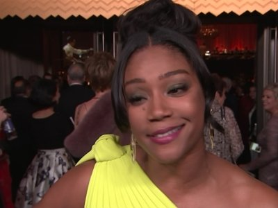 Haddish makes Oscars fashion moment with used dress