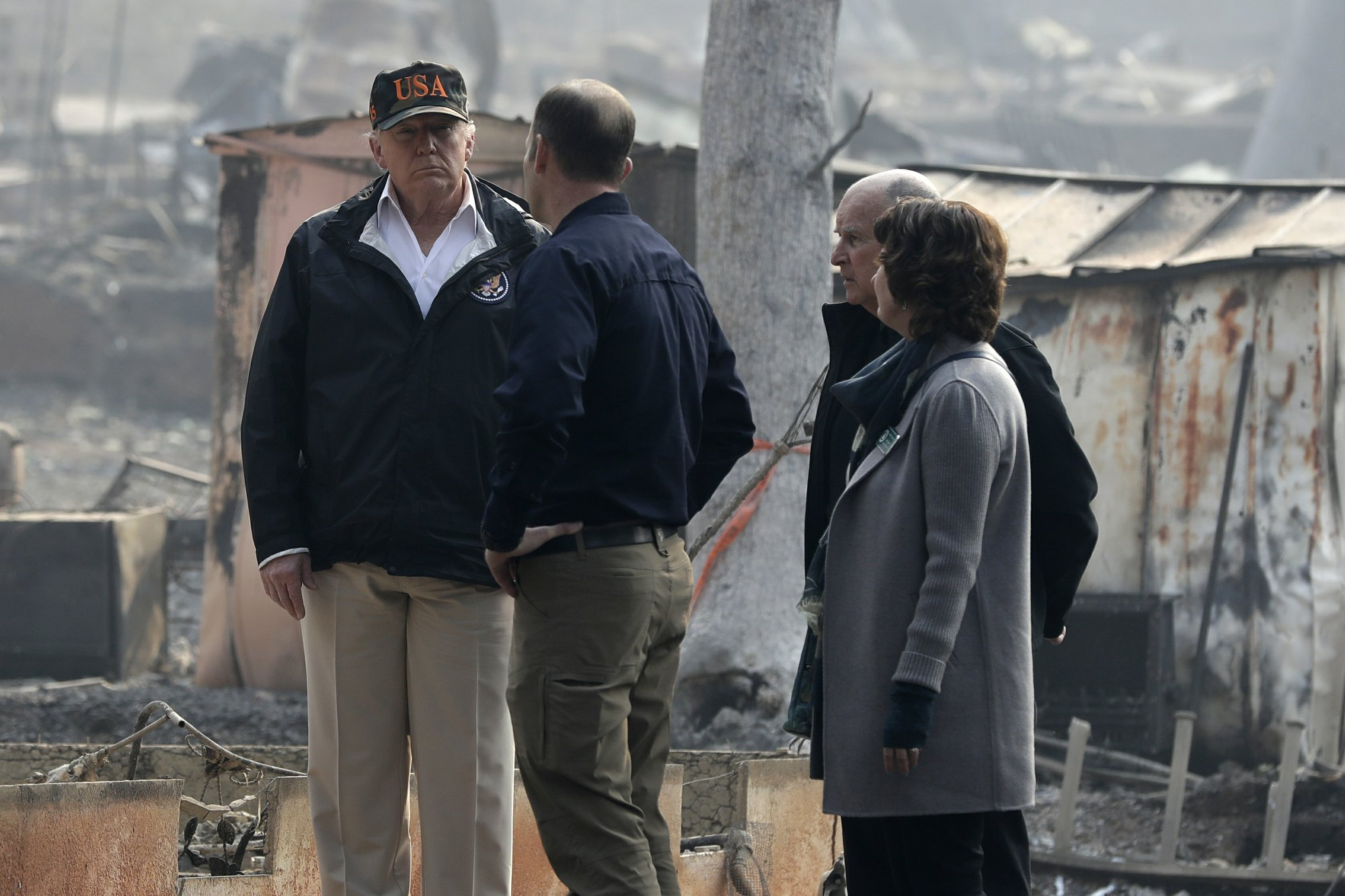 Image result for Trump arrives in California to tour fire areas