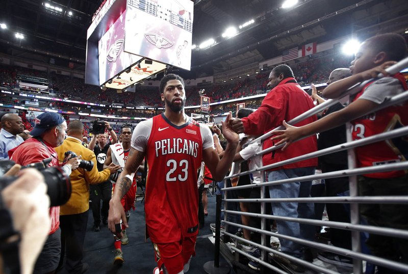 New Orleans Pelicans Forward Anthony Davis (23) Greets Fans After Defeating  The Portland Trail Blazers In Game 4 Of A First Round NBA Basketball  Playoff ...