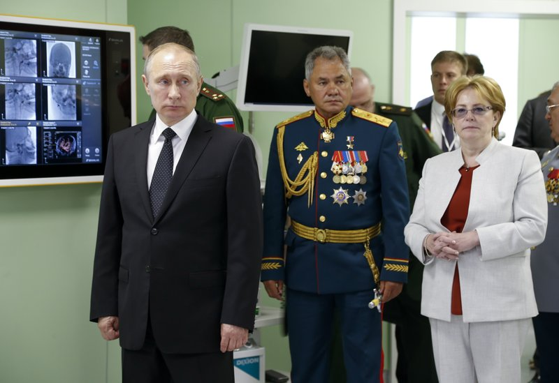 Vladimir Putin, Sergei Shoigu, Veronika Skvortsova