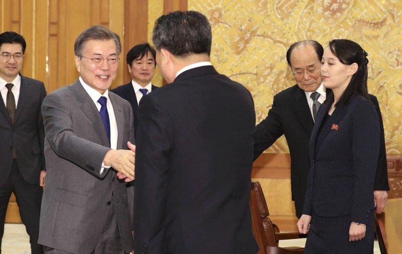 Moon Jae-in, Kim Yo Jong, Kim Yong Nam, Ri Son Gwon