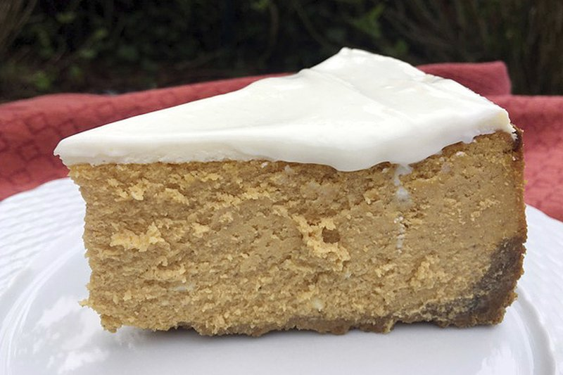 Pumpkin Cheesecake with Crystallized Ginger Crust