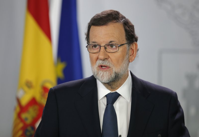 bd77963c57 Spains Prime Minister Mariano Rajoy speaks during a press conference at the  Moncloa Palace in Madrid, Spain, Wednesday, Oct. 11, 2017.