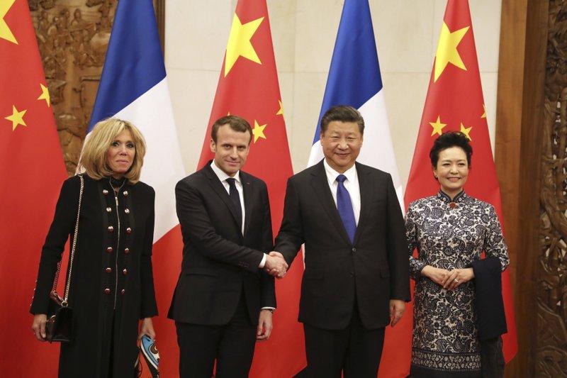 Emmanuel Macron, Brigitte Macron, Xi Jinping, Peng Liyuan