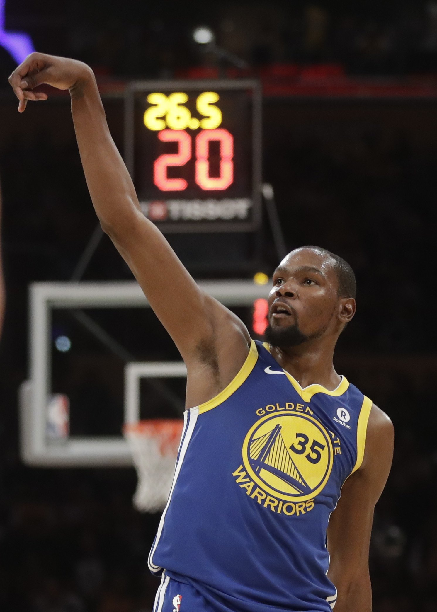 41b3607be6a4 Golden State Warriors forward Kevin Durant celebrates a basket against the  Los Angeles Lakers during the first half of an NBA basketball game in Los  Angeles ...