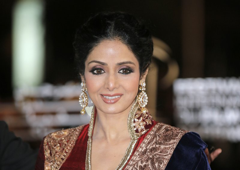 In this Dec. 1, 2012 file photo, Indian actress Sridevi arrives at the Marrakech International Film Festival in Marrakech, at the Marrakech Congress Palace. Sridevi, Bollywood's leading lady of the 1980s and '90s who redefined stardom for actresses in India, has died at age 54. The actress, known by one name, was described as the first female superstar in India's male-dominated film industry. Her brother-in-law Sanjay Kapoor speaking to the Indian Express online confirmed she died Saturday, Feb. 24, 2018, in Dubai due to cardiac arrest.