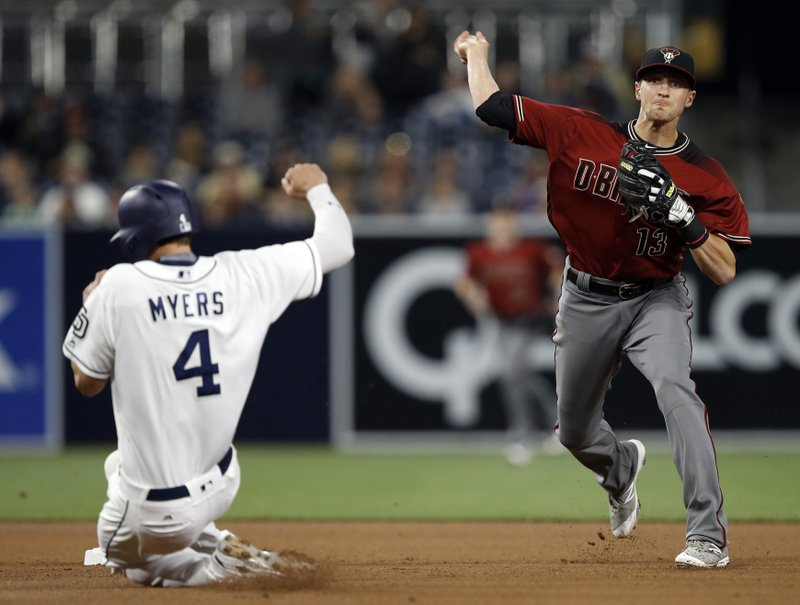 San Diego Padres' Wil Myers, left, gets forced out at second, as Arizona Diamondbacks shortstop Nick Ahmed throws to get Yangervis Solarte at first for the double play during the fourth inning of a baseball game in San Diego, Wednesday, April 19, 2017. (AP Photo/Alex Gallardo)