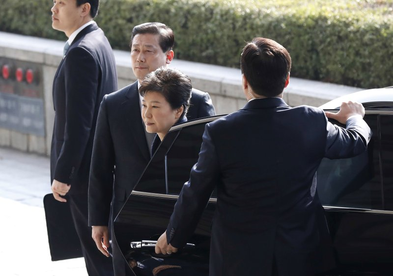 South Korea's ousted leader Park Geun-hye arrives at a prosecutor's office in Seoul