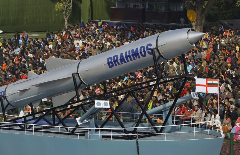 In this Jan. 23, 2009 file photo, a Brahmos missile is displayed at the Republic Day parade rehearsal in New Delhi, India. India and Pakistan, which have gone to war three times, have not only built up their armies but also developed nuclear weapons. As the 70th anniversary of India-Pakistan Partition comes up next week, relations between the two nations are as broken as ever. In some ways, their violent birth pangs dictated their future course through suspicion and animosity.