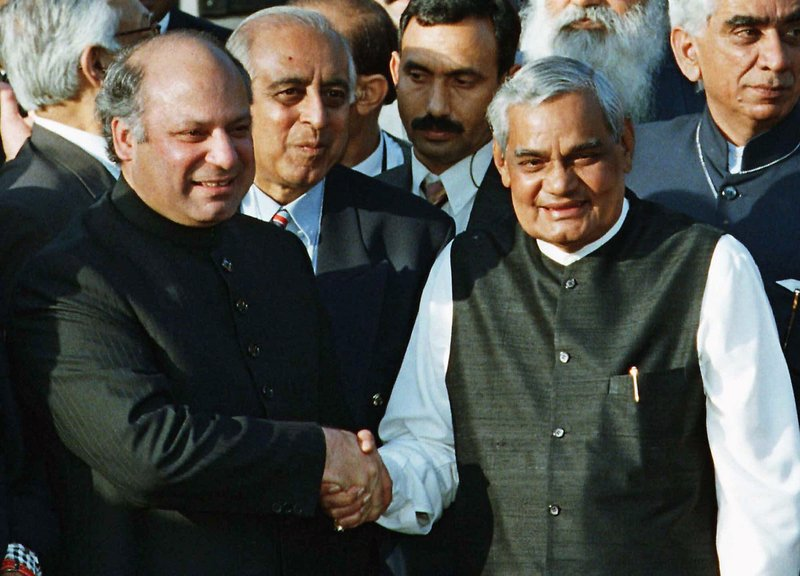 In this Feb. 20, 1999 file photo, Pakistani Prime Minister Nawaz Sharif, left, receives Indian Prime Minister Atal Bihari Vajpayee at the Wagah border near Lahore, Pakistan.In 1999, Indian Prime Minister Atal Bihari Vajpayee revived peace talks and took a groundbreaking bus ride to the Pakistani border town of Lahore to meet his Pakistani counterpart, Nawaz Sharif. But less than four months later, Sharif's army chief, Gen. Pervez Musharraf, sent armed invaders into Kashmir to capture some mountain peaks. The move provoked two months of air strikes and ground attacks by India, ending after Sharif ordered the fighters to withdraw. As the 70th anniversary of India-Pakistan Partition comes up next week, relations between the two nations are as broken as ever.