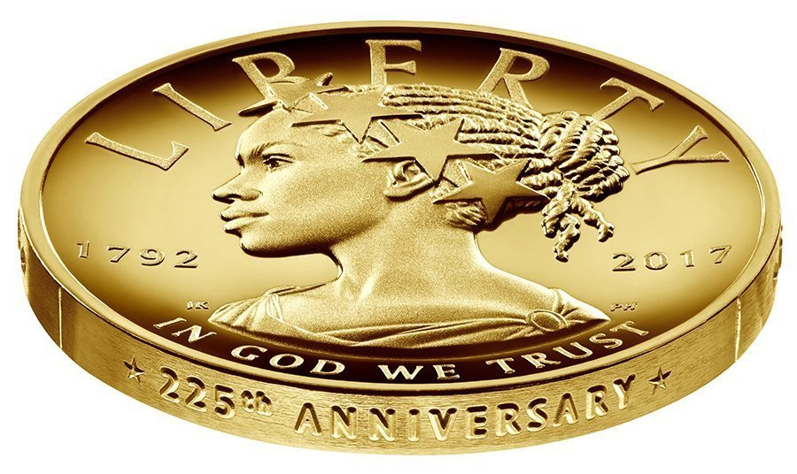 Liberty is depicted as black woman on $100 gold coin