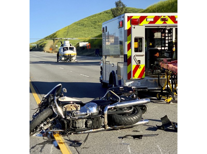 Motorcycle officer airlifted from crash on LA-area freeway