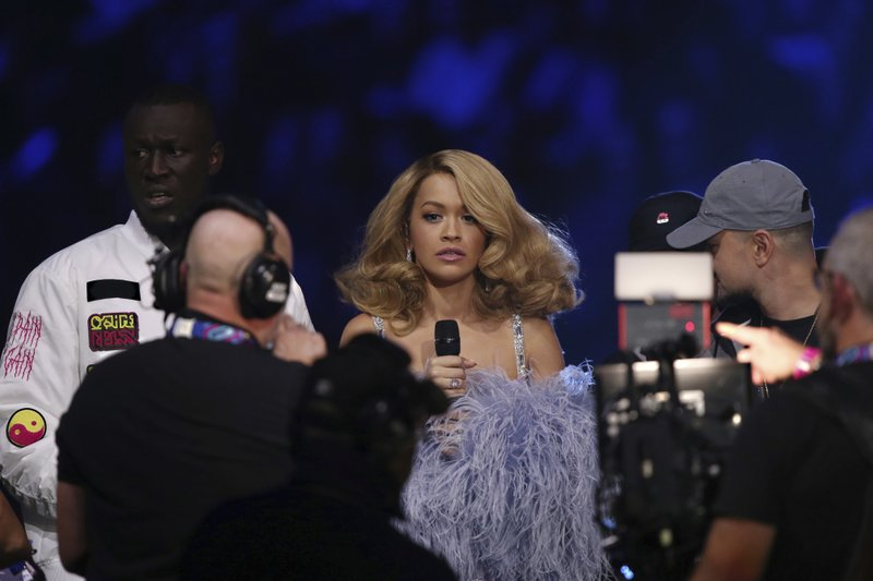 Rita Ora, centre, Stormzy