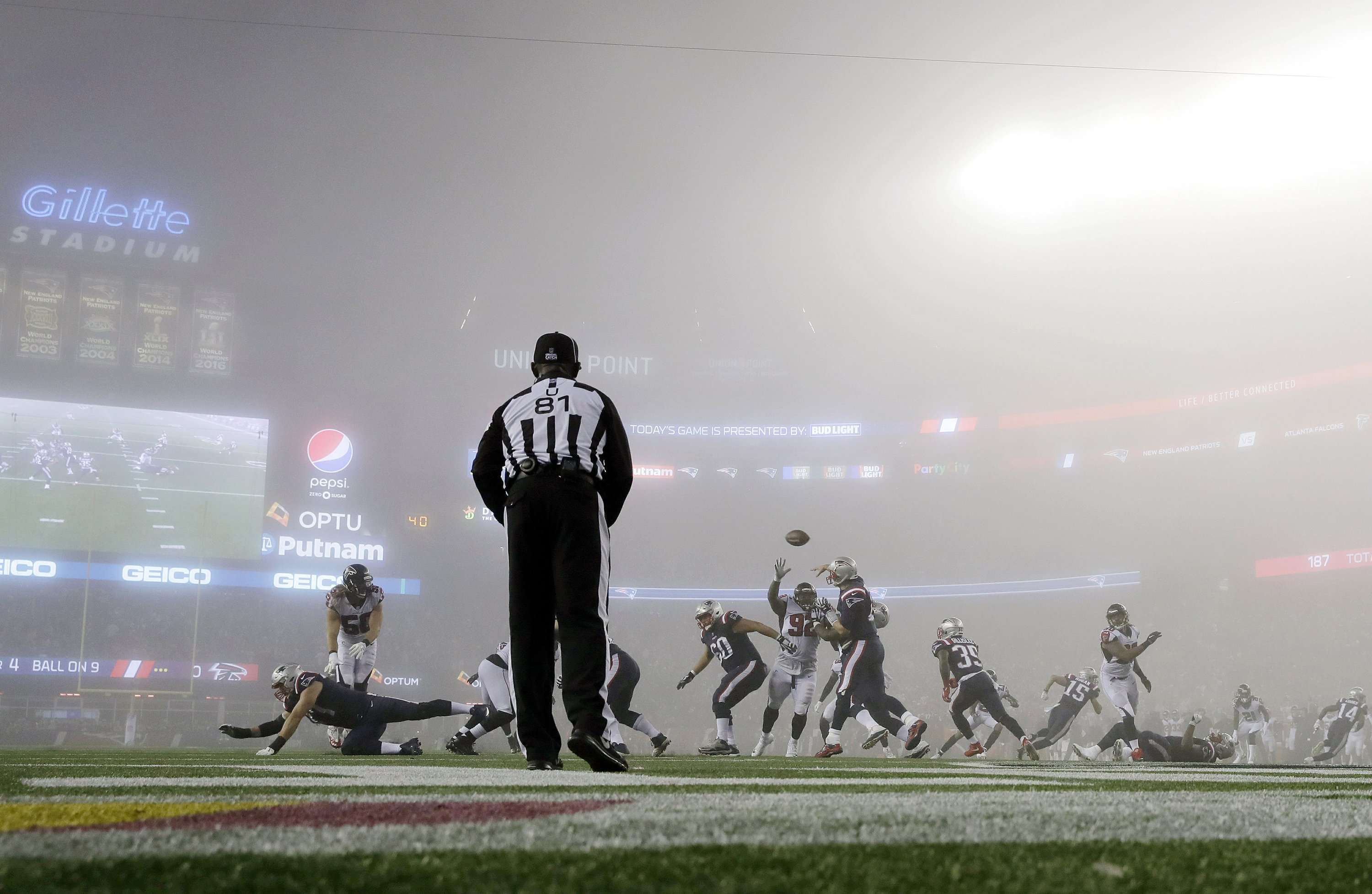 Latest from NFL: Pats and fog dominate Super Bowl rematch