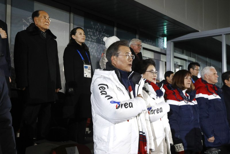 Moon Jae-in, Kim Jung-sook, Karen Pence, Mike Pence, Kim Yong Nam, Kim Yo Jong