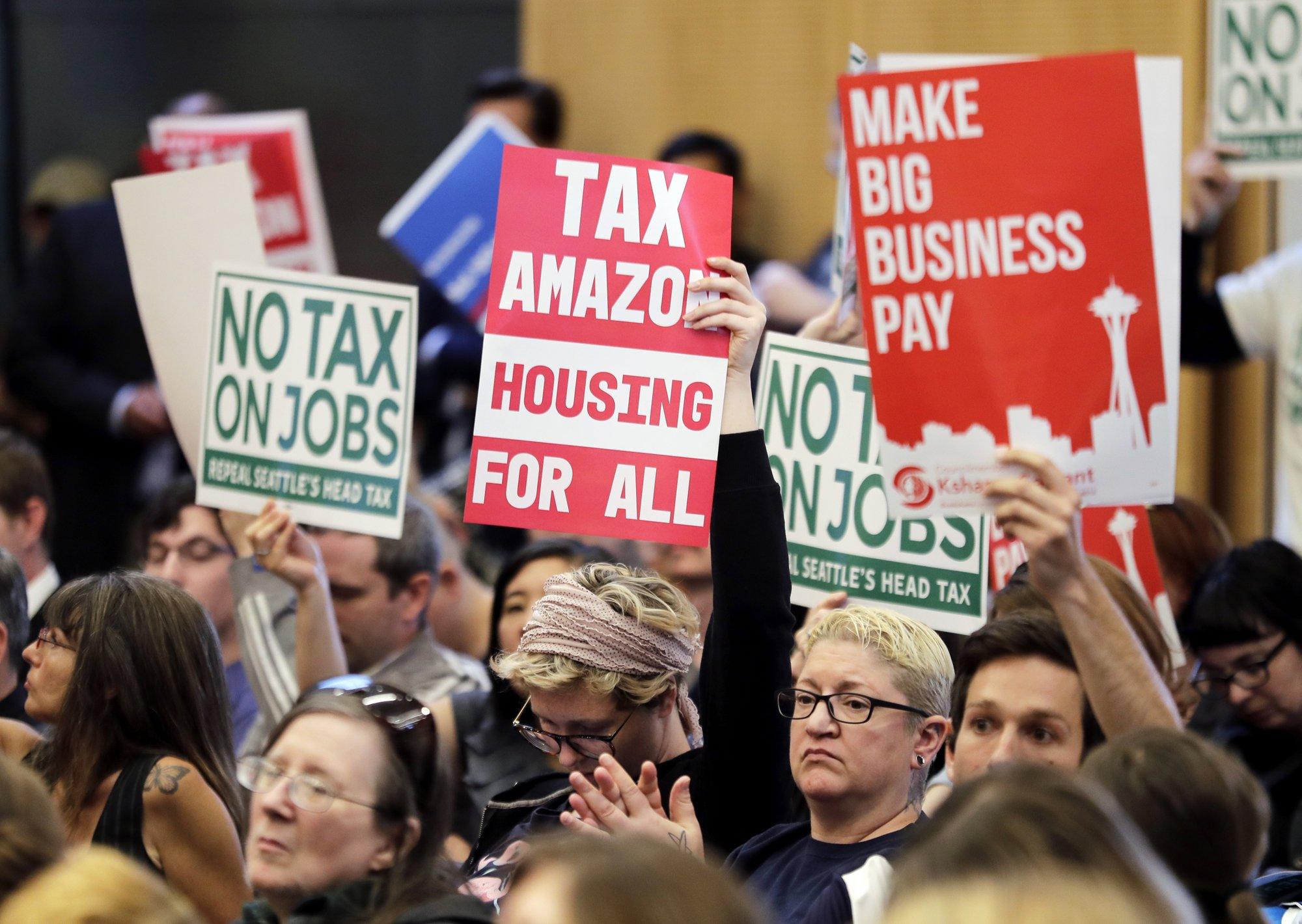 Seattle divided as leaders halt tax on companies like Amazon