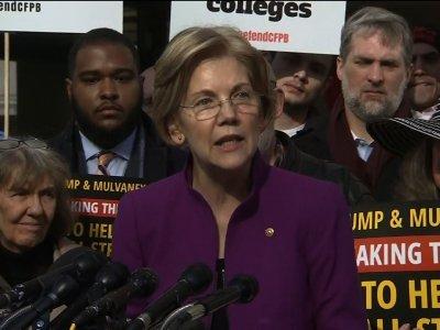 Warren Defends CFPB, Condemns Trump's 'Slur'