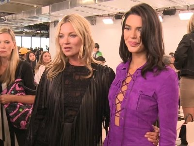 When models collide: Kendall Jenner and Kate Moss strike a pose at Longchamp