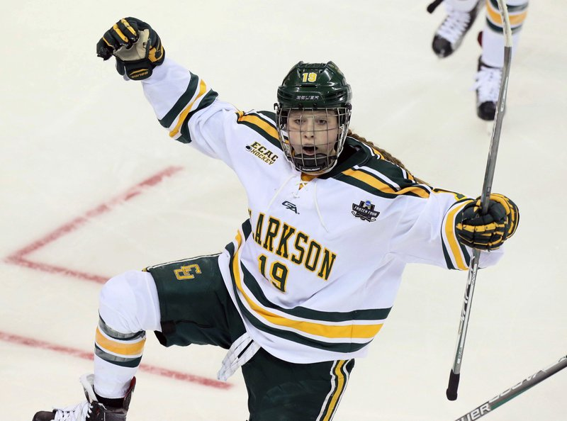 ec2c886c4 ... Clarkson forward Loren Gabel reacts after scoring in the second period  during an NCAA college Division I Women's Frozen Four semifinal against  Minnesota ...