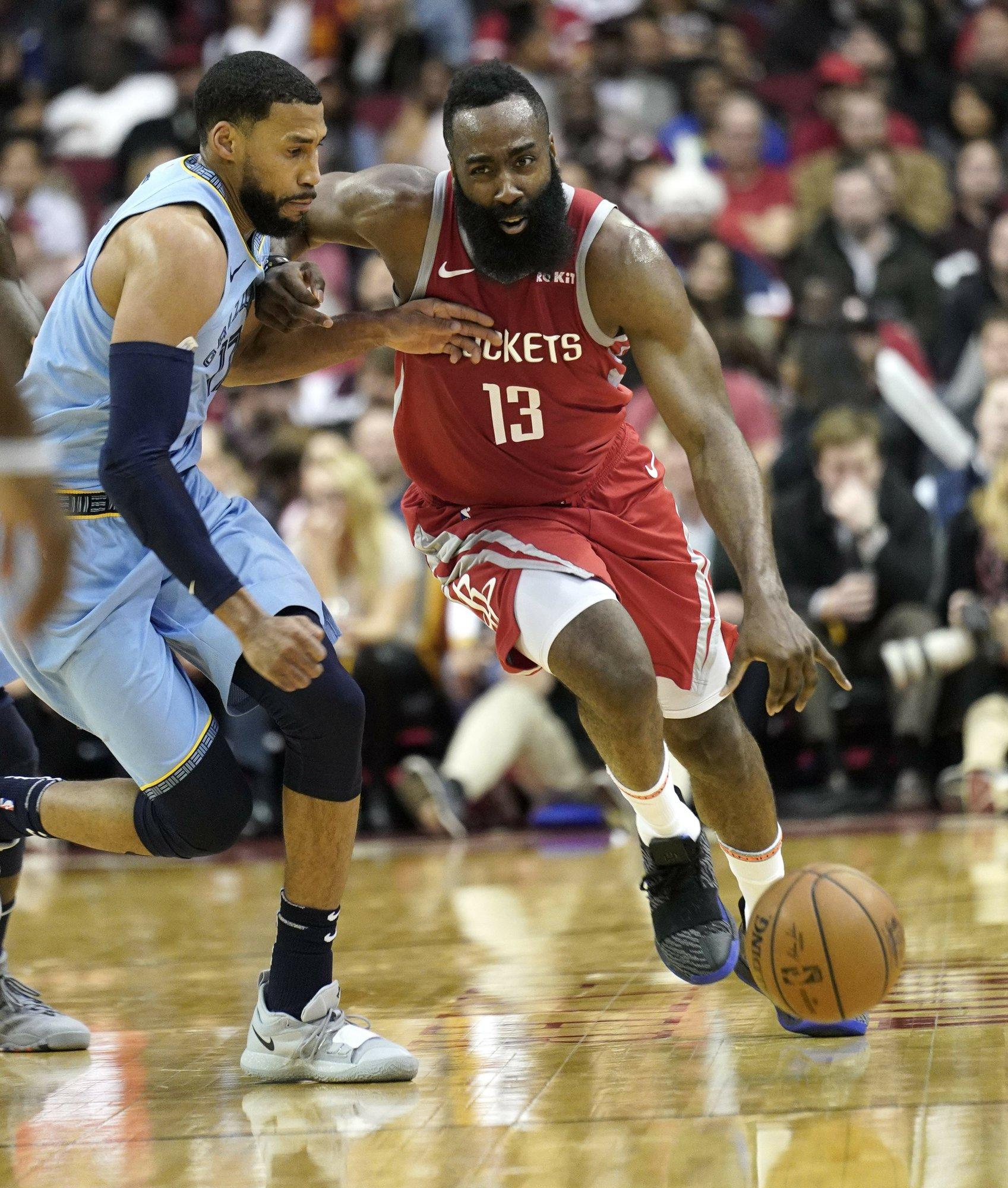 d7215ac4ae41 Harden scores season-high 57 as Rockets top Grizzlies 112-94