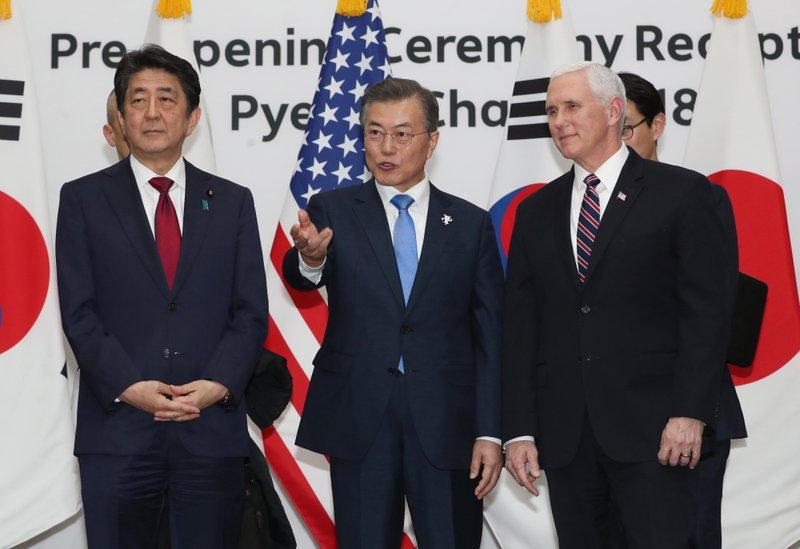 Moon Jae-in, Mike Pence, Shinzo Abe
