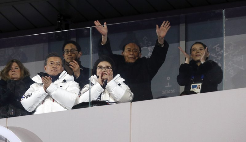 Mike Pence, Moon Jae-in, Kim Jung-sook, Kim Yong Nam, Kim Yo Jong