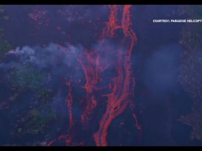 Aerial Views Show Hawaii Volcano Lava Flows