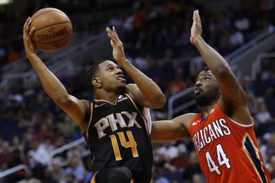 0a12294cf PHOENIX (AP) — The short-handed Phoenix Suns closed out their home season  with a victory Friday and looked toward their final two games