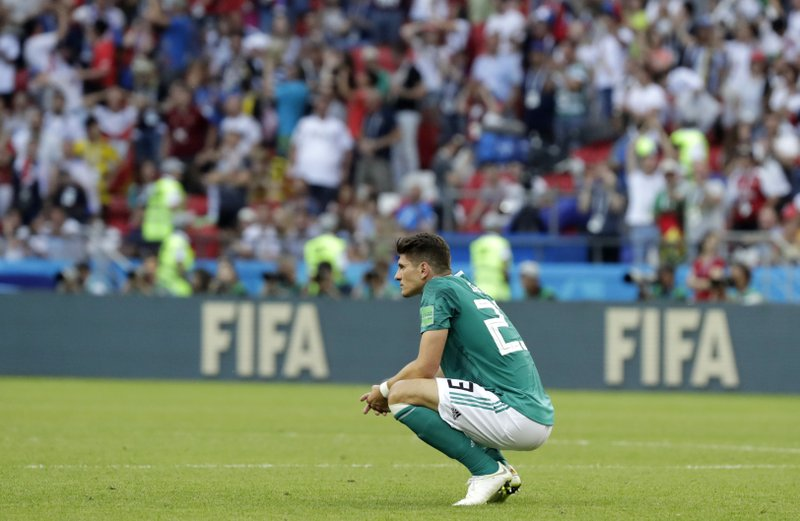 Germany's Mario Gomez on the pitch after the group F match between South Korea and Germany, at the 2018 soccer World Cup in the Kazan Arena in Kazan, Russia, Wednesday, June 27, 2018.