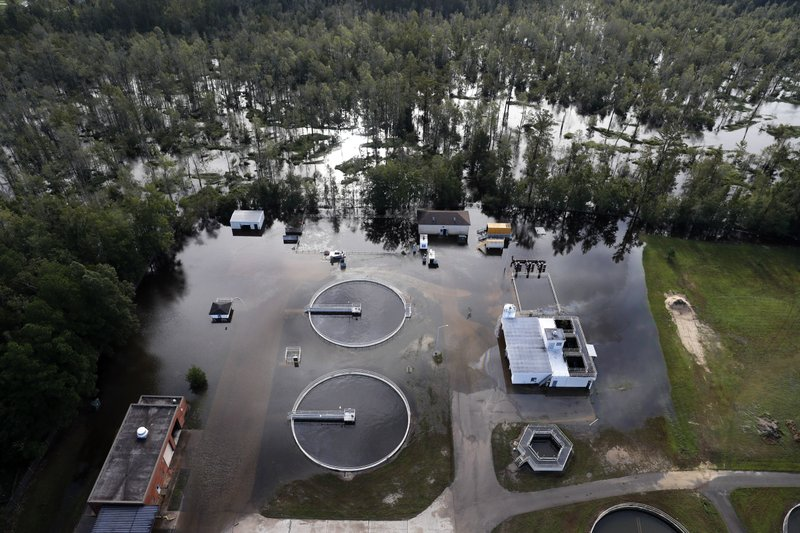 A wastewater treatment plant is inundated from floodwaters in the aftermath of Hurricane Florence in Marion South Carolina