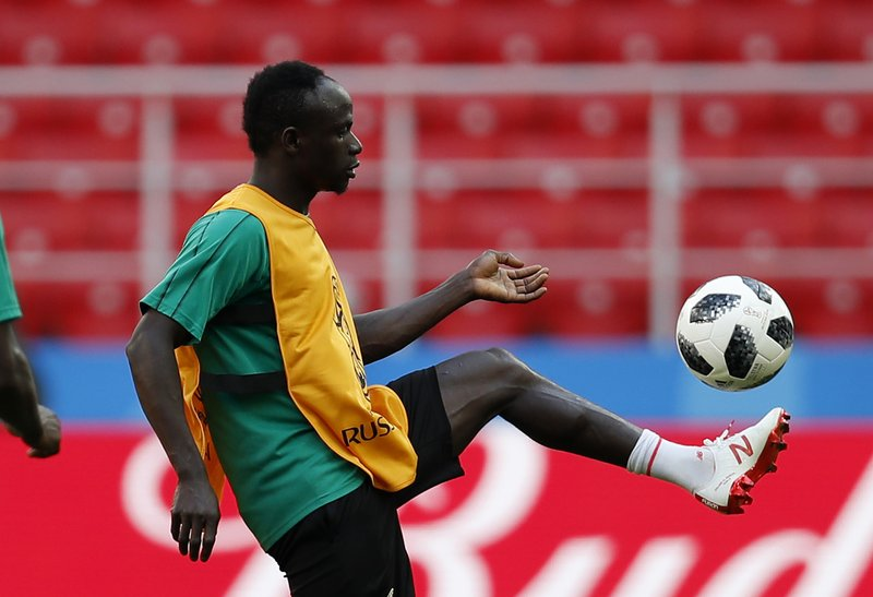 Senegal's Sadio Mane control the ball during Senegal's official training on the eve of the group H match between Poland and Senegal at the 2018 soccer World Cup in the Spartak Stadium in Moscow, Russia, Monday, June 18, 2018.