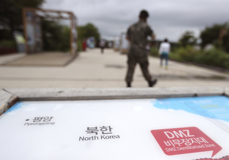 A South Korean Soldier Walks By The Map Of North Korea At The Imjingak Pavilion In Paju South Korea Wednesday Aug 16 2017 China Has Urged The United