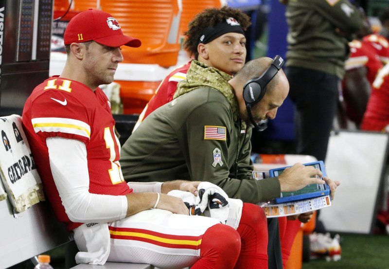 Matt Nagy, Patrick Mahomes, Alex Smith