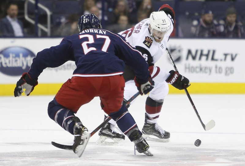sports shoes db501 16d2e Fischer nets hat trick to lift Coyotes over Blue Jackets 4-1