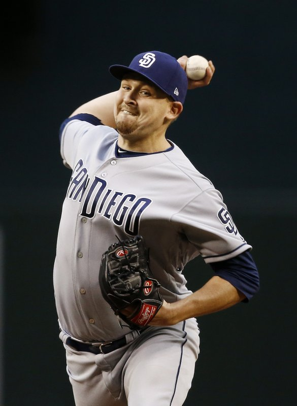 San Diego Padres' Trevor Cahill throws a pitch against the Arizona Diamondbacks during the first inning of a baseball game, Wednesday, April 26, 2017, in Phoenix. (AP Photo/Ross D. Franklin)