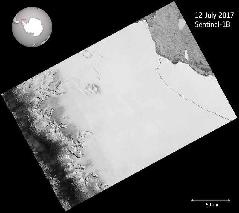 The image released by European Space Agency ESA shows a photo taken by the Copernicus Sentinel-1 mission on July 12, 2017, when a lump of ice more than twice the size of Luxembourg has broken off the Larsen-C ice shelf in Antarctica, spawning one of the largest icebergs on record and changing the outline of the Antarctic Peninsula forever.