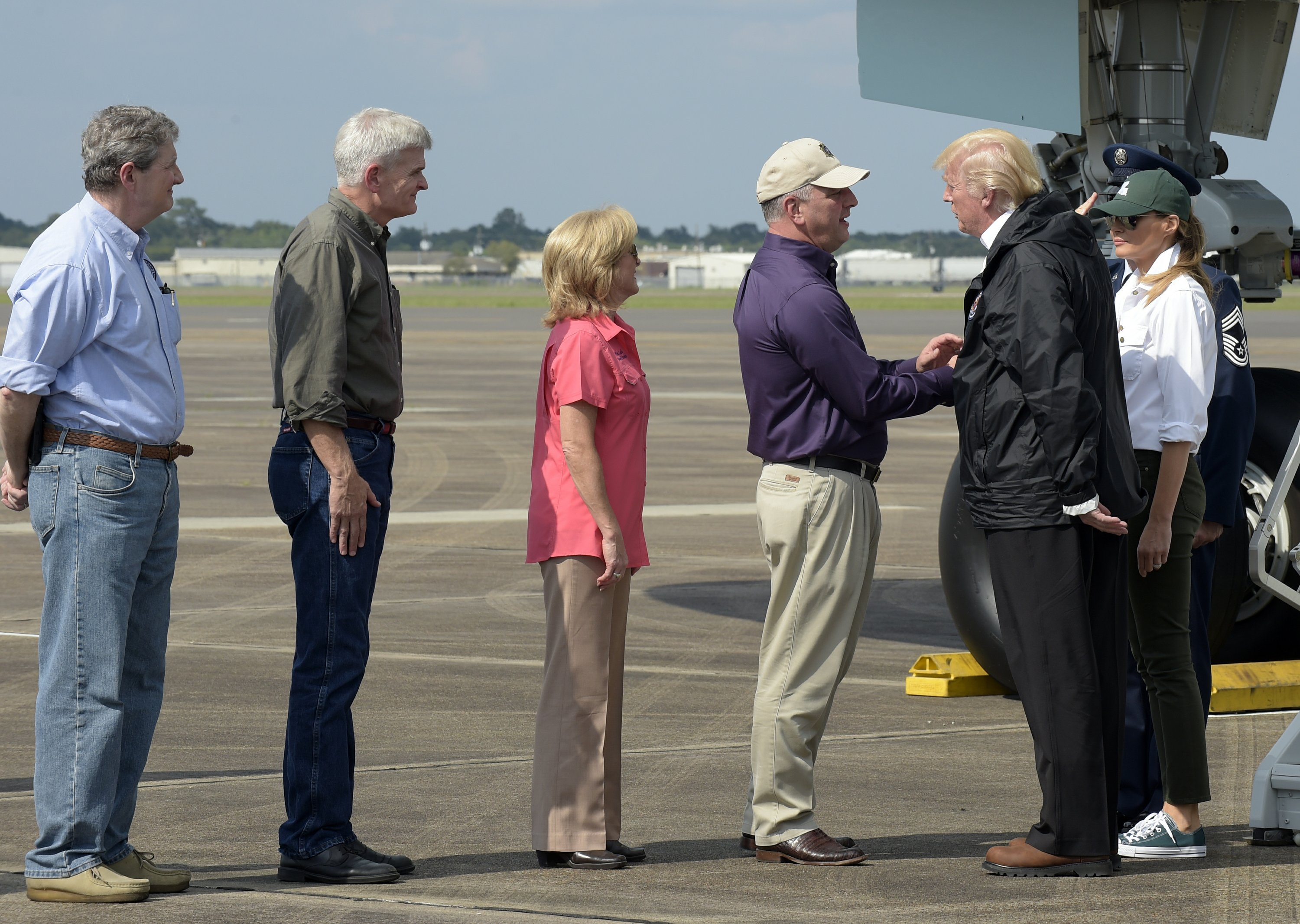 The Latest: Trump meets with first responders in Louisiana
