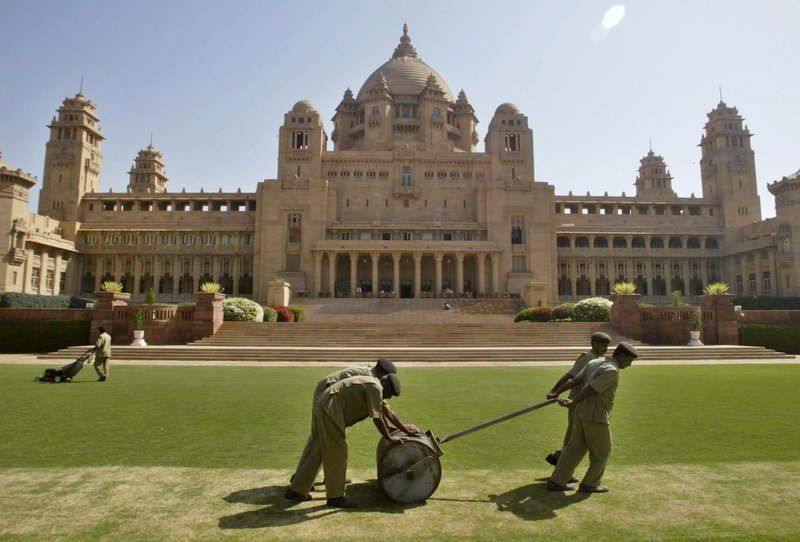 "This March 6, 2007 photo, shows a general view of the Umaid Bhawan Palace in Jodhpur, India. The 347-room palace, considered one of the world's fanciest residences, was used as the primary location for ""Viceroy House,"" a film by director Gurinder Chadha. The movie details the last days of the British Empire in India and the bloody partition with what became Pakistan in 1947."