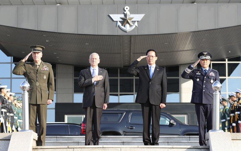 Jim Mattis, Song Young-moo, Joseph Dunford, Jeong Kyeong-doo,