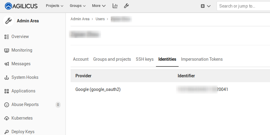 Finding your Google ID and reclaiming your Gitlab account