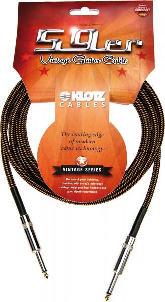 Klotz Vintage 59er Instrumenten Kabel 3m gelb schwarz Coated