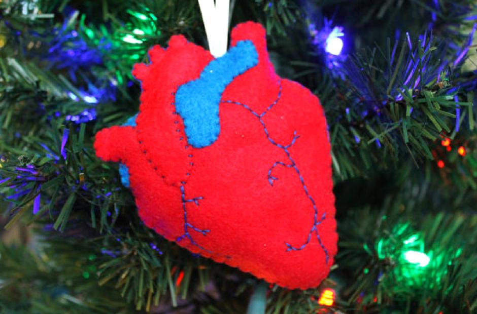 Christmas tree ornaments, anatomic heart, healthcare