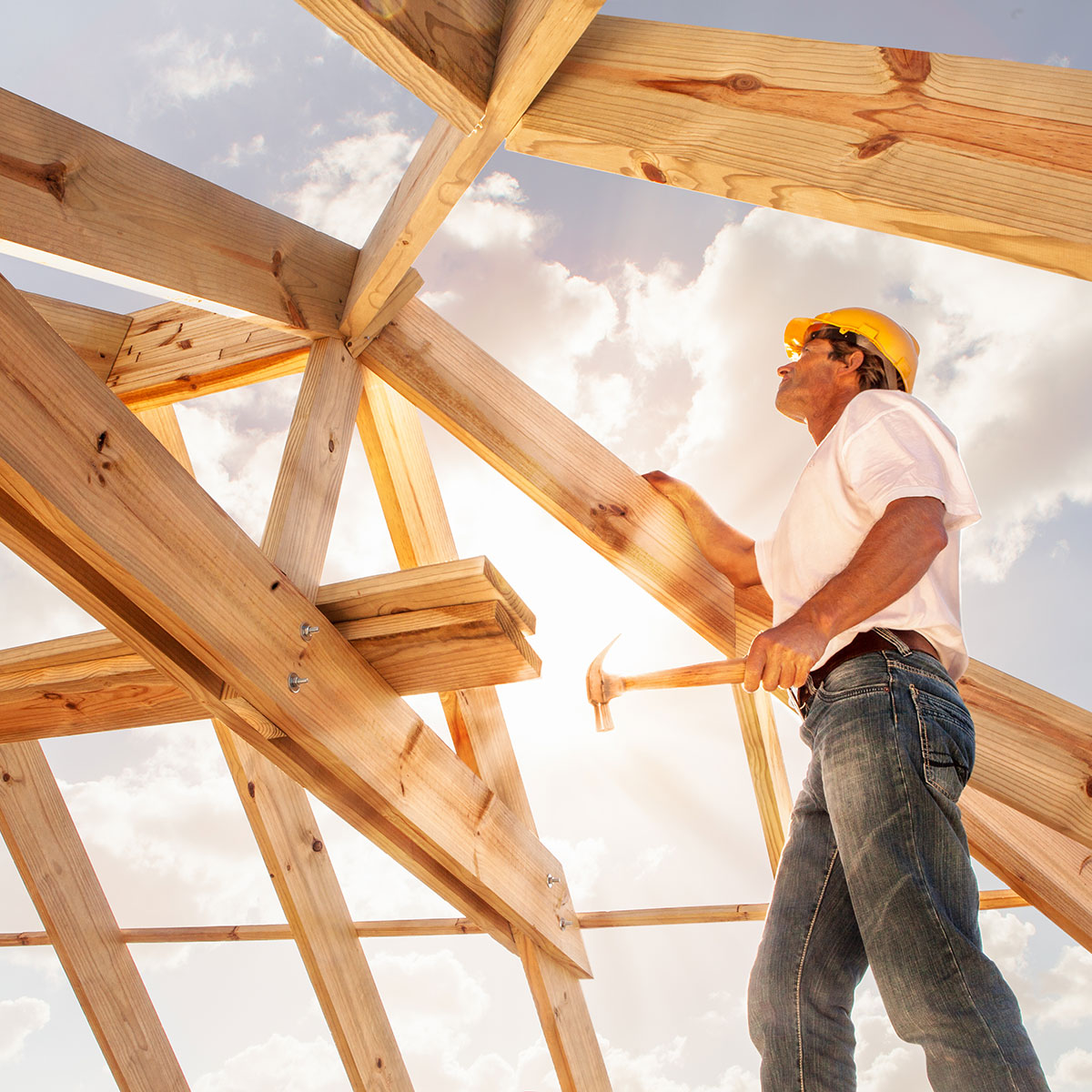 man building house framing roof sunshine