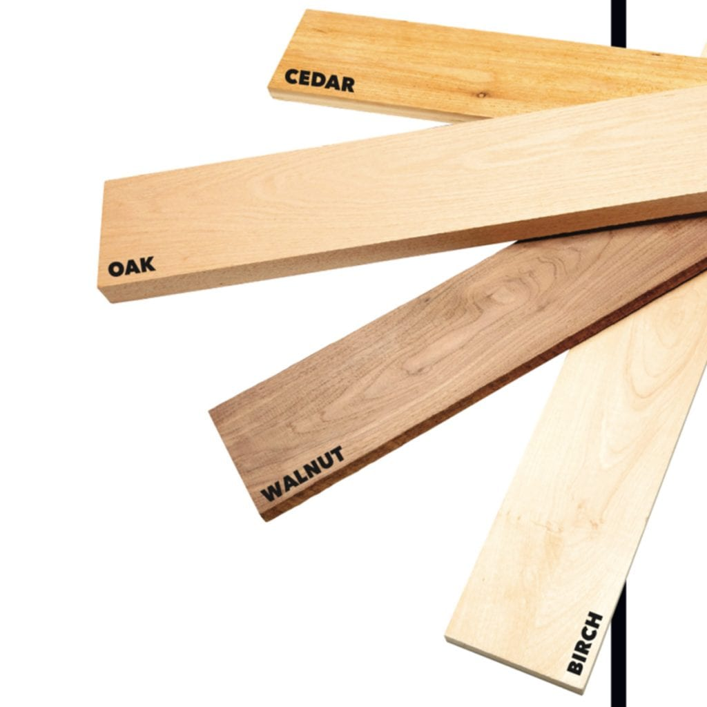 four different kinds of woods splayed out