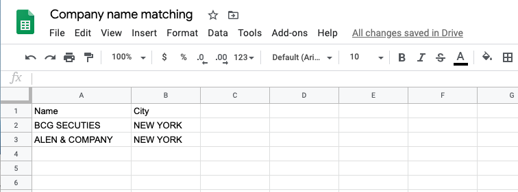 How my Google sheet looks like